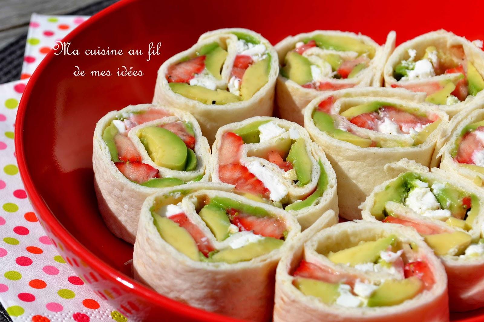 Ma cuisine au fil de mes idées...: Wraps à l'avocat, fraises et feta pour l'apéro