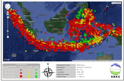 Peta Seismisitas Indonesia periode Januari-Desember 2014. http://bmkg.go.id/BMKG_Pusat/Publikasi/Artikel/PREDIKSI_GEMPABUMI_PENGERTIAN_dan_AKIBATNYA.bmkg