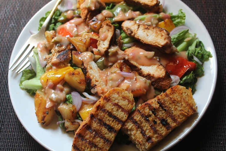 Spicy Grilled Chicken Salad Recipe Chicken Salad With Thousand