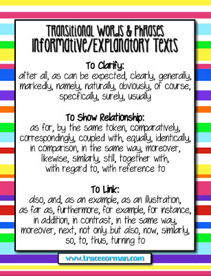 Transitions for Informative/Explanatory Anchor Chart www.traceeorman.com