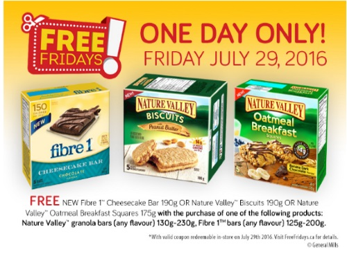 Free Fibre 1 Cheesecake Bar or Nature Valley Biscuit or Oatmeal Breakfast Square Coupon