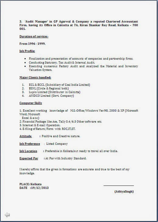 RESUME BLOG CO Resume Sample CA & CMA CWA Having 18