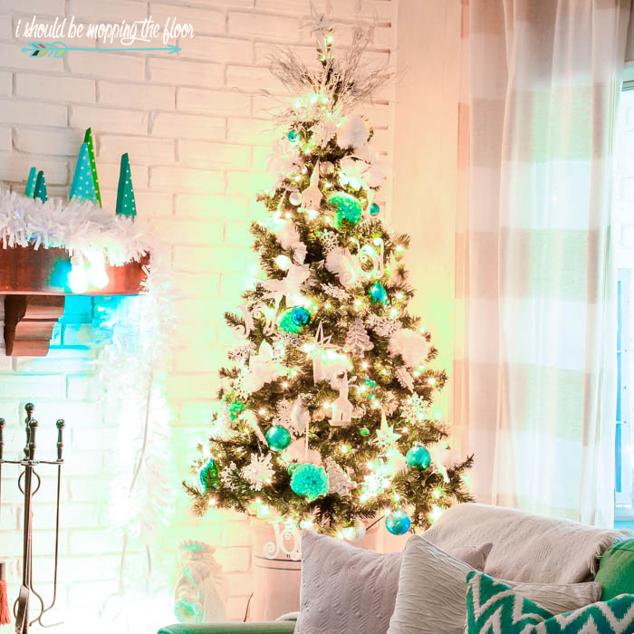 Budget-Friendly Aqua and White Christmas Tree with Loads of Vintage and Handmade Touches
