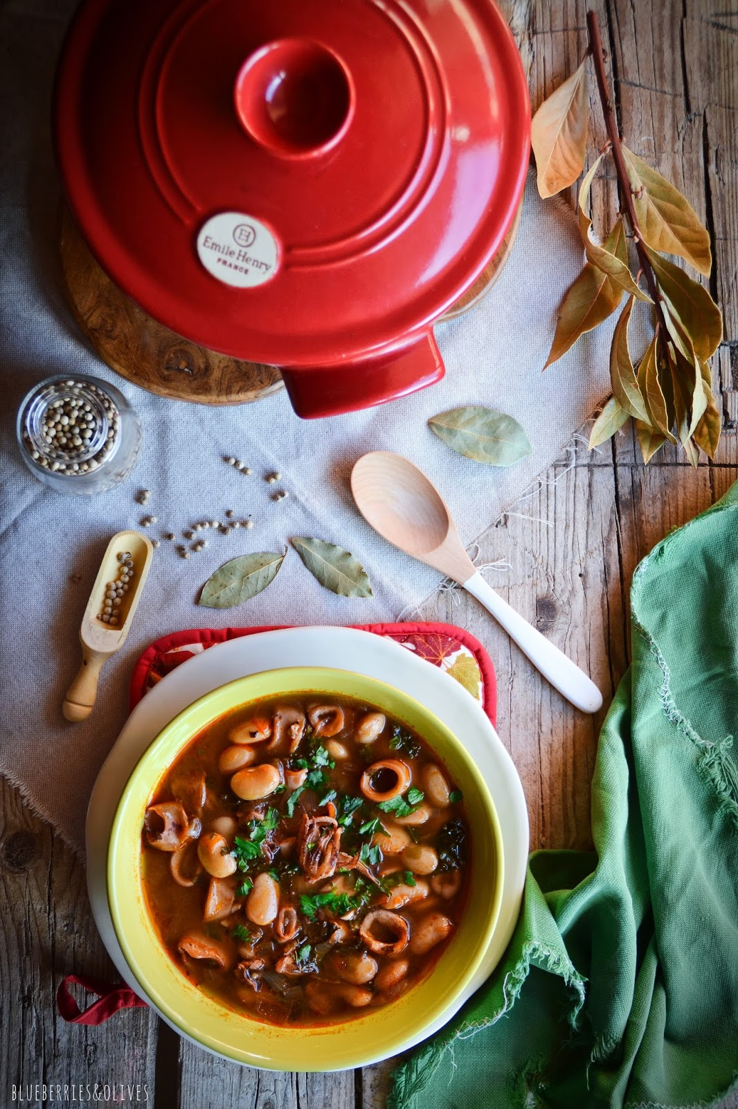 WHITE BEAN, KALE AND SQUID STEW IN COCOTTE
