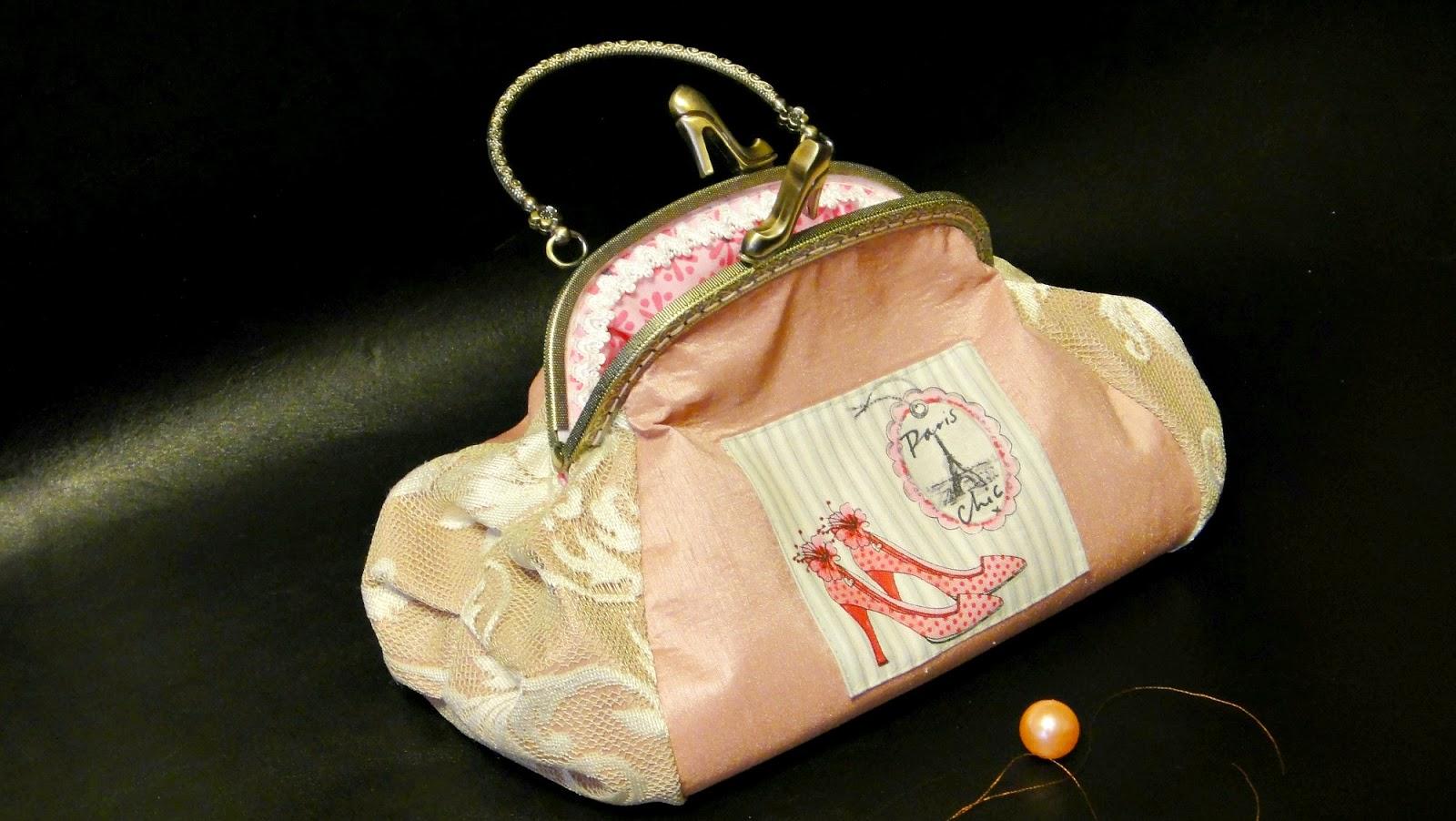 Розовая вечерняя сумочка с фермуаром