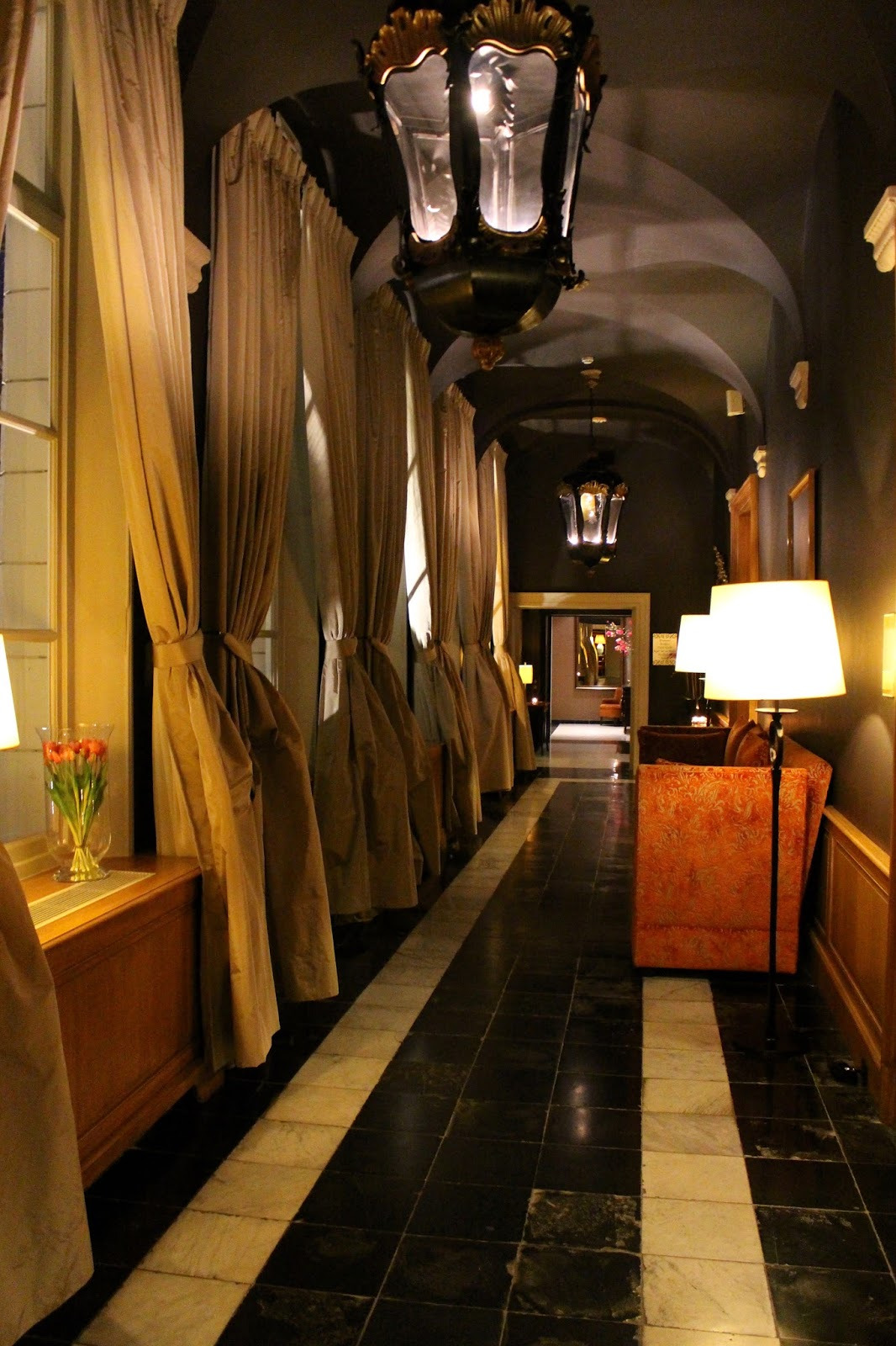 Beautiful hotel dukes' palace corridors by night