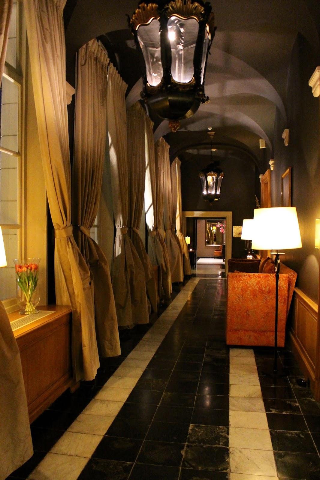 Beautiful hotel dukes' palace corridors by night
