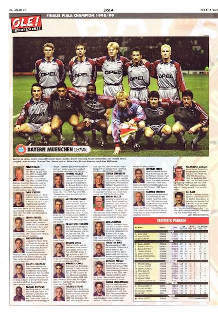 FINALIS PIALA CHAMPION 1998/99: BAYERN MUENCHEN (JERMAN)