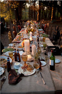 setting the table outdoors in Autumn