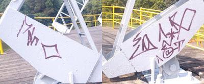 Guarda Civil de Santo André flagra elementos pichando a concha do Parque Central