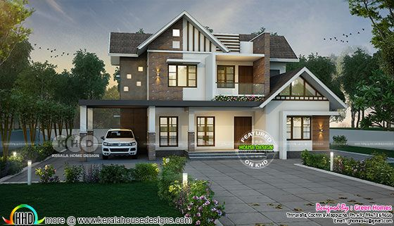 Sloping roof mix 4 bedroom 3000 sq-ft home