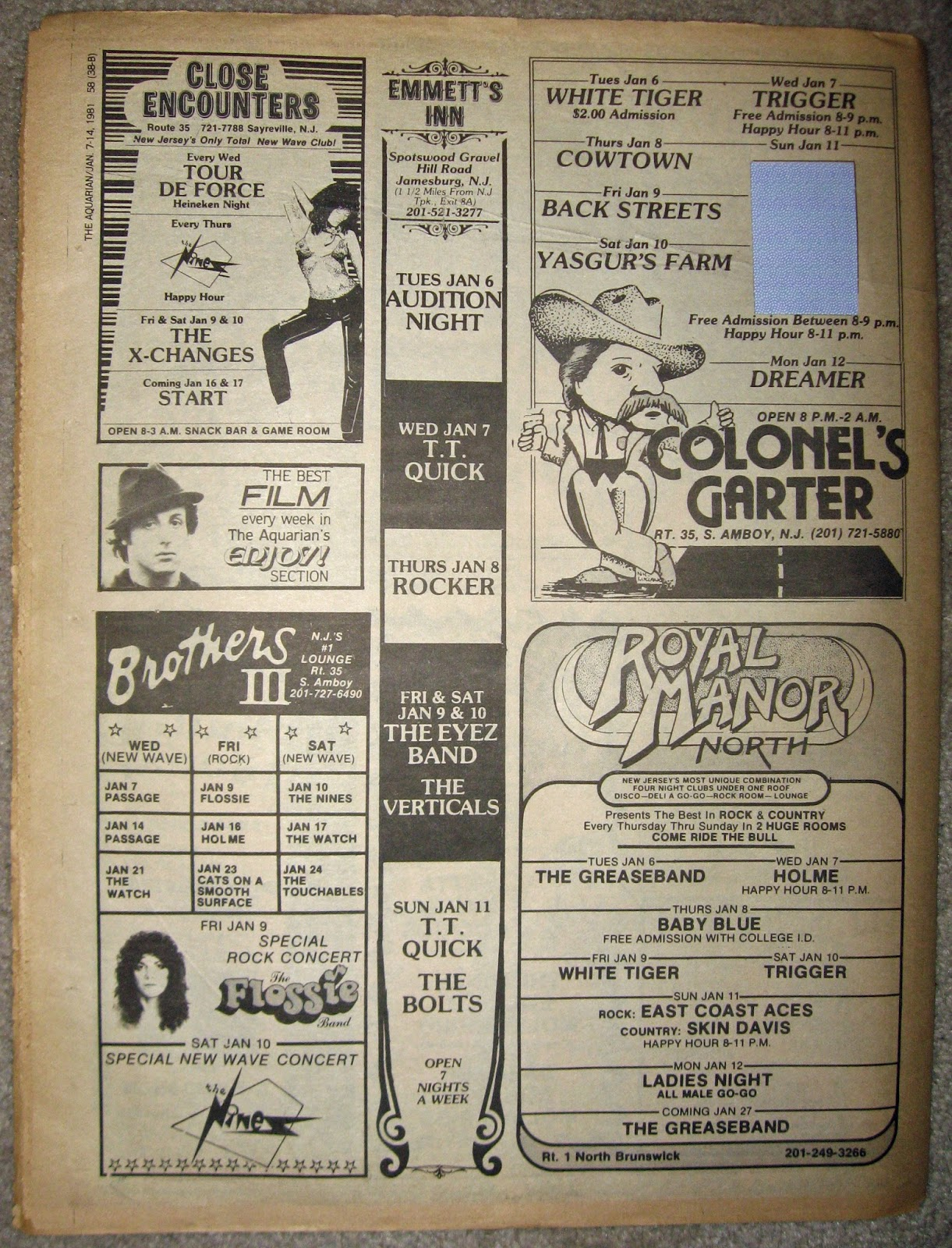 Colonel's Garter - Royal Manor North - Emmett's Inn - Close Encounters - Brother's 3 band line ups 1981