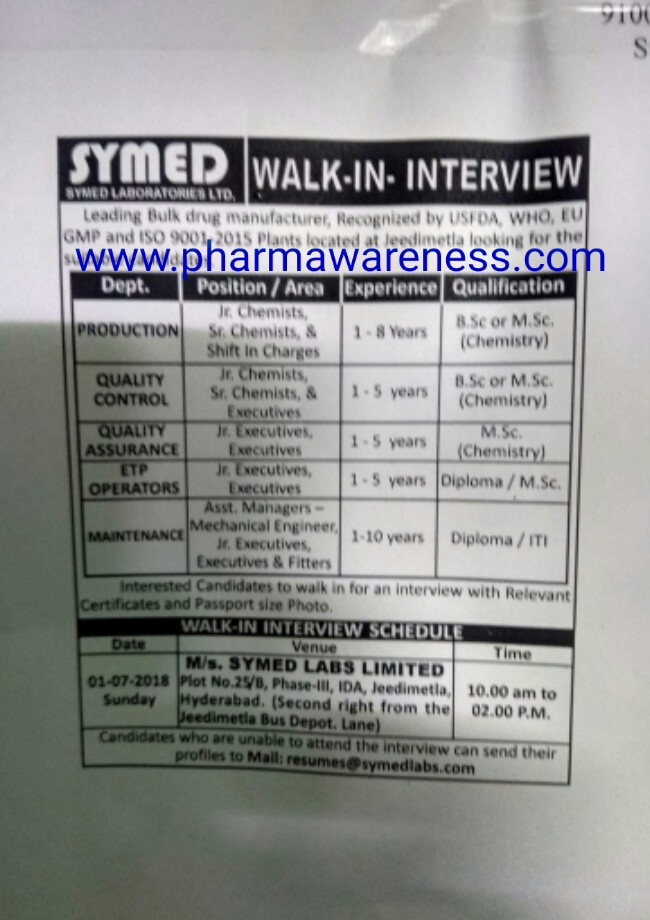 symed labs ltd walk qc  etp  engg