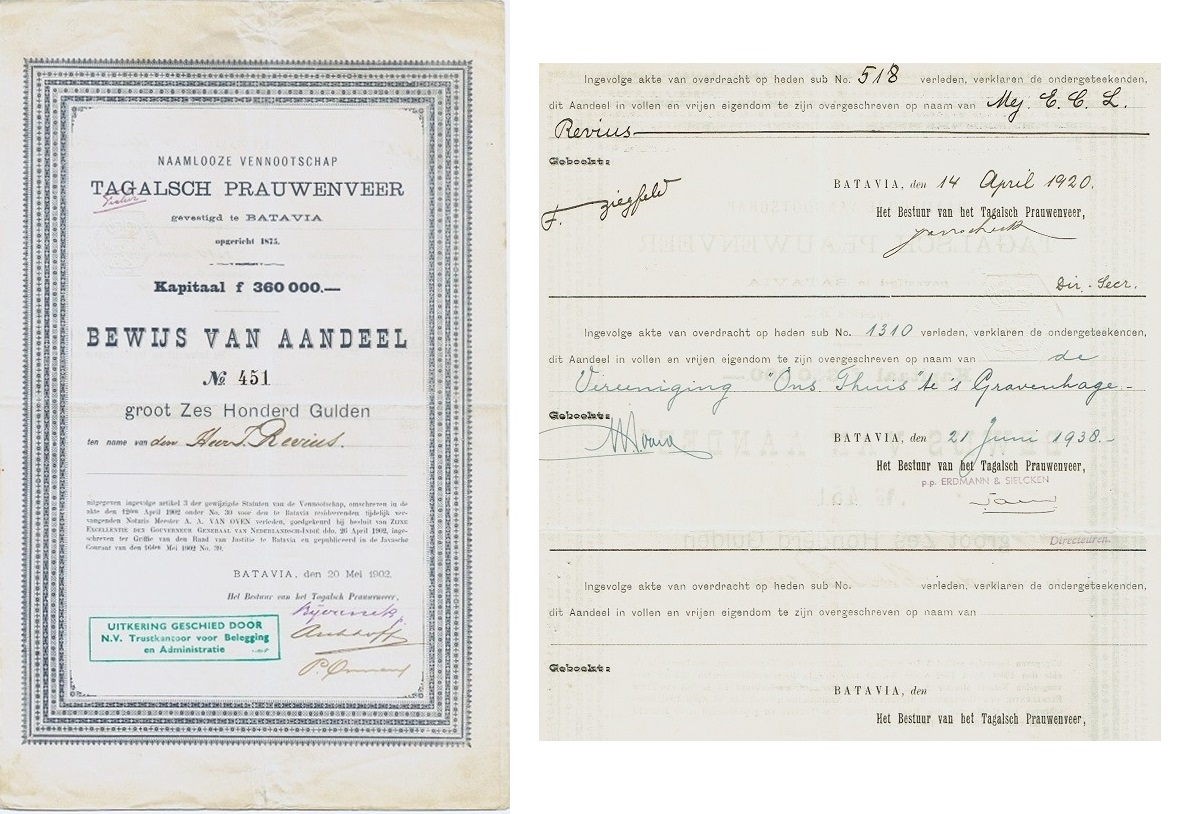 Tagalsch Prauwenveer Stock Certificate Mentions Ownership Transfers On Rear  Certificate Of Ownership Template