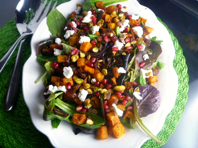 Spicy Fall Squash Salad:  The perfect autumn salad full of sweet and spicy flavors that totally compliment each other. - S lice of Southern