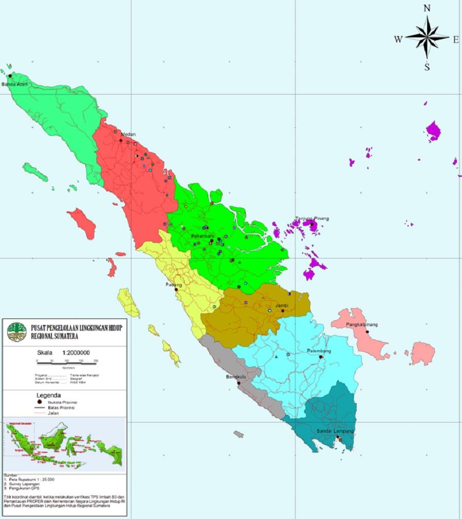 Peta Provinsi di Pulau Sumatera