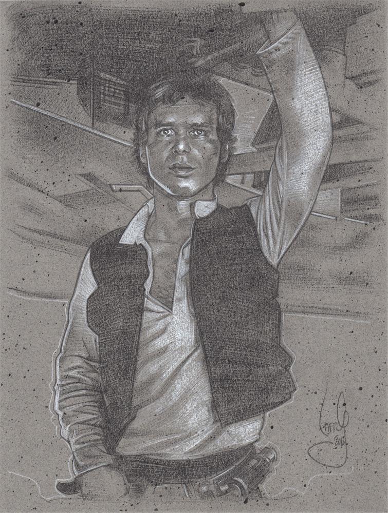 Harrison Ford as Han Solo Art © JEFF LAFFERTY 2015
