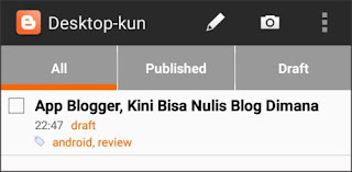 list post pada aplikasi blogger