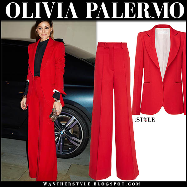 Olivia Palermo in bright red jacket and trousers from victoria beckham pantsuit fashion awards look december 10 2018