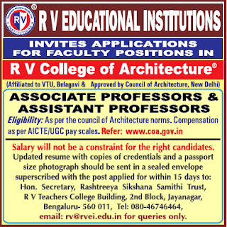 R V College of Architecture, Bangalore, Recruitment 2019 Associate Professor/Assistant Professor Jobs Notification