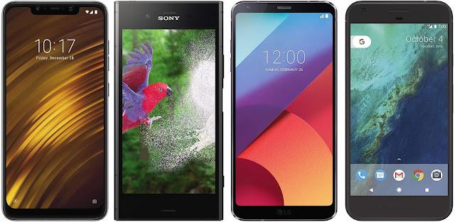 Xiaomi Pocophone F1 128G vs Sony Xperia XZ1 vs LG G6 vs Google Pixel XL