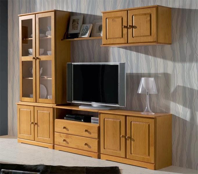 mueble salon modular pino