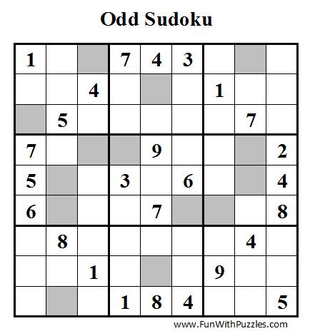 Odd Sudoku (Fun With Sudoku #8)