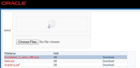Uploading and downloading files from database (BLOB) in Oracle ADF
