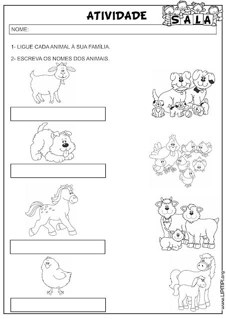 Atividade Auto Ditado Animais e Famílias para casa e para sala