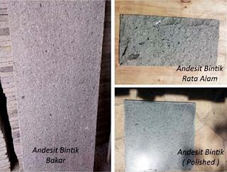 Model Gambar Batu Alam Templek Teras Rumah Minimalis Andesit Bintik Rata Alam, Bakar, Pholished.
