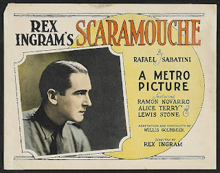 A 1923 poster for a a silent movie version of Sabatini's  breakthrough novel Scaramouche