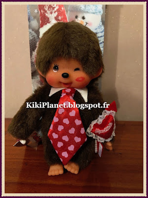 le Monchhichi Heart and Kiss Marked , kiki, saint valentin, valentine's day, vintage, peluche, jouets