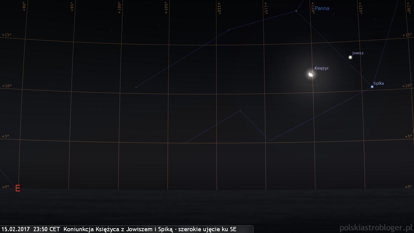 15.02.2017  23:50 CET  Koniunkcja Księżyca z Jowiszem i Spiką - szerokie ujęcie ku SE