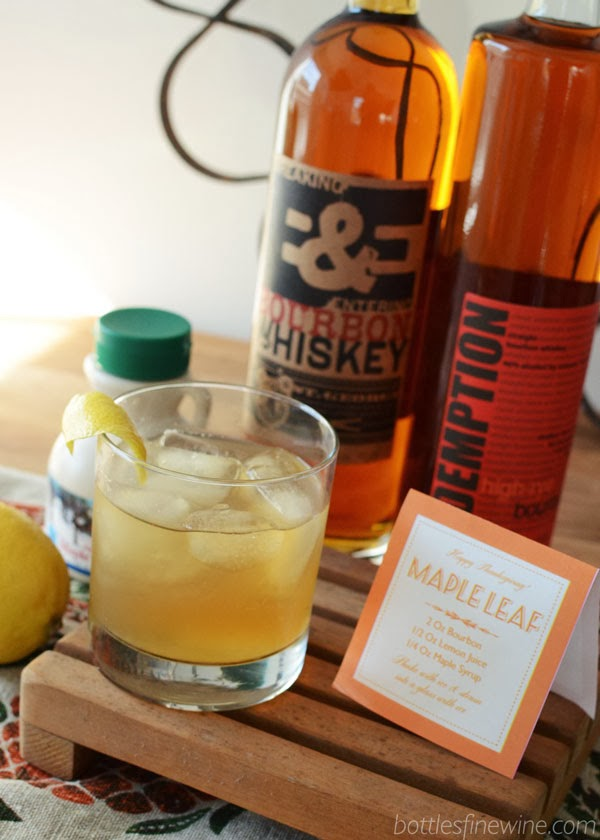 bourbon cocktail | Maple Leaf drink recipe sign