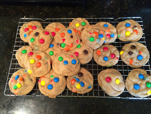 Chewy Peanut Butter M&M Cookies