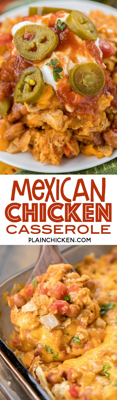 Mexican Chicken Casserole - seriously delicious! Everyone cleaned their plate - even our picky eaters!!! Chicken, tortilla chips, beans, diced tomatoes and green chiles, taco seasoning, cream of chicken soup and cheese. Can make ahead and freeze for later. We LOVE this easy casserole recipe! #casserole #chickencasserole #mexicancasserole #easydinnerrecipe