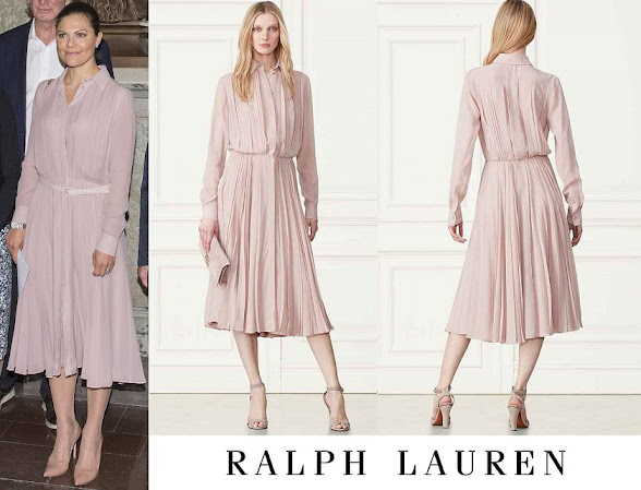 Crown Princess Victoria wore Ralph Lauren Vintage Rose Dresses Maxine Pleated Silk Shirtdress