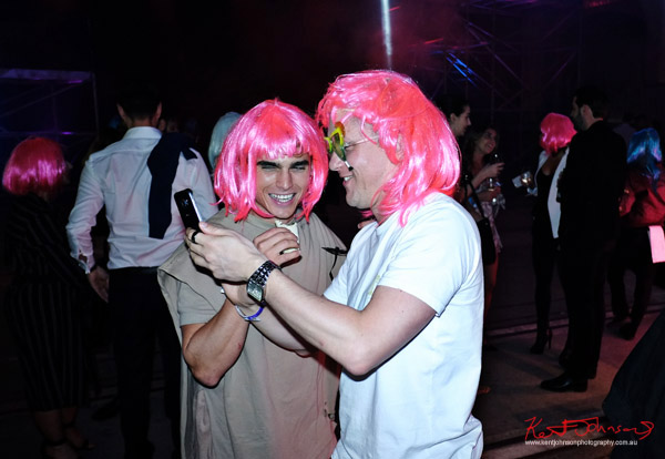 Guys, pink party wigs and a selfie. UE Boom 2 Launch at Carriageworks Sydney #PartyUp photographed by Kent Johnson for Street Fashion Sydney.