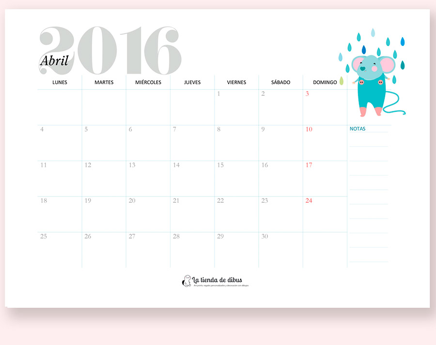[freebie] Dibu calendario imprimible para 2016