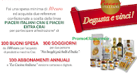 Logo Con Piaceri Italiani vinci 100 buoni spesa, 100 soggiorni e 100 abbonamenti La Cucina italiana