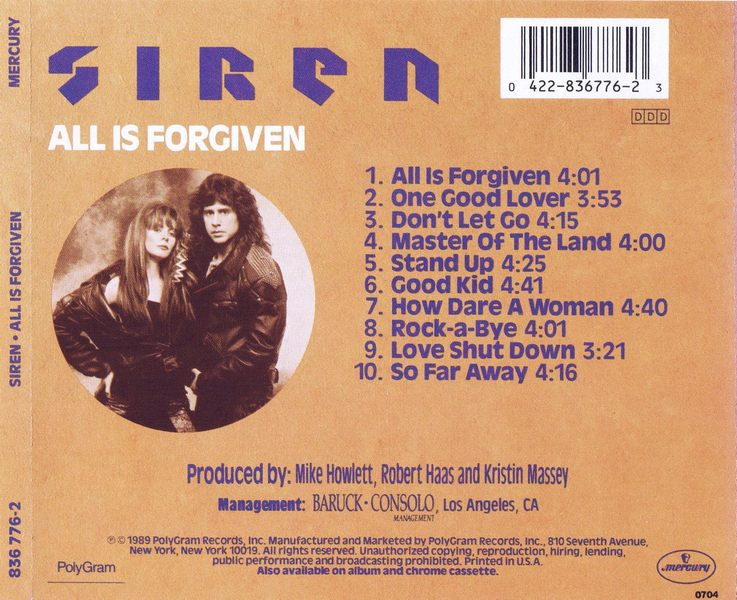 SIREN - All Is Forgiven (1989) back