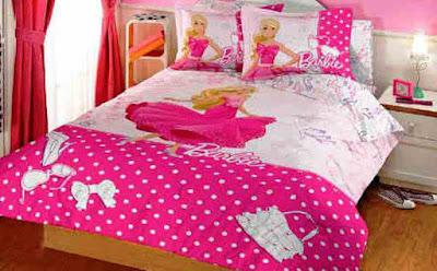 Contoh Dekorasi Kamar Tidur Anak Dengan Bad Cover Barbie