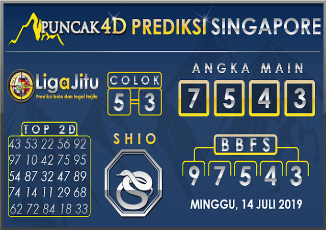 PREDIKSI TOGEL SINGAPORE PUNCAK4D 14 JULI 2019