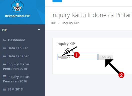 Input Nomor KIP dan Klik Inquiry