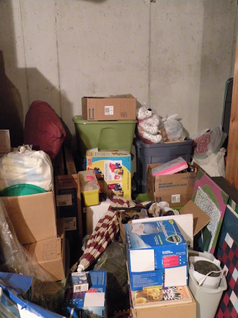 Basement storage of garage sale items