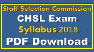 SSC CHSL Exam Syllabus 2018