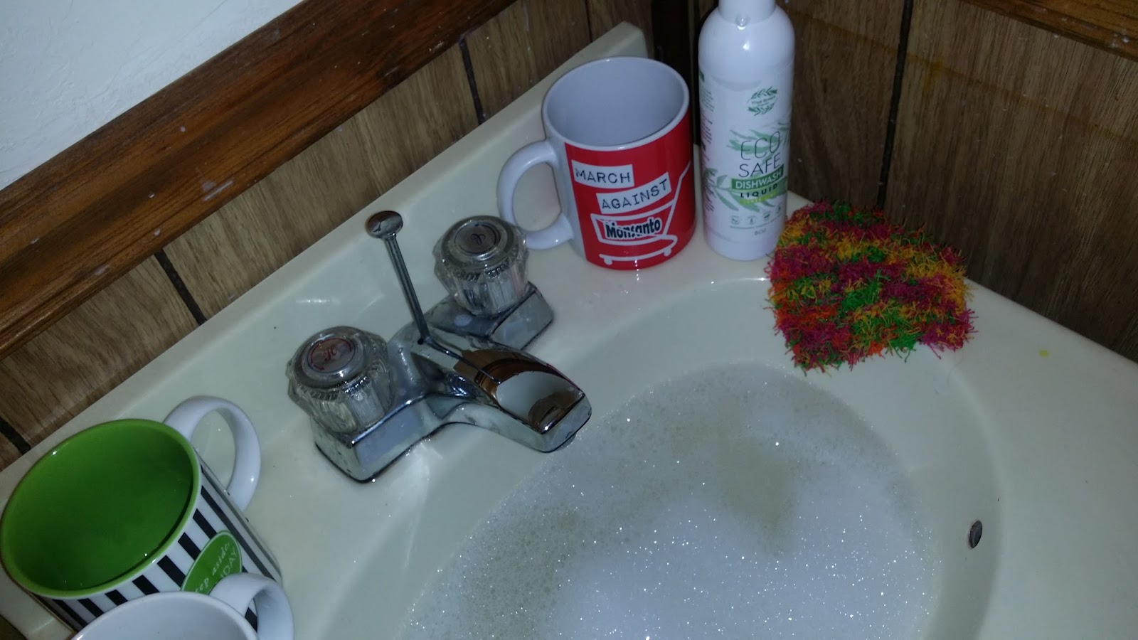 Dishwashing Liquid And Hot Water For Kitchen Sink