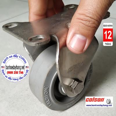 Bánh xe cao su càng inox cố định 75x32mm Colson | 2-3308SS-444 www.banhxepu.net