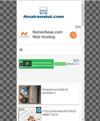 Contoh tampilan Blog AnakSosial.com dari Samsung Galaxy S 5