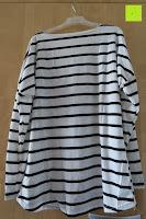 hinten: Yidarton Damen Rundhals Gestreift Stretch Basic T-Shirt Oberteile Langarmshirt Loose Bluse Tops